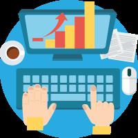 illustrazione web analytics digital banzai di forma rotonda (tastiera, monitor, grafico a torta, mouse, caffè)