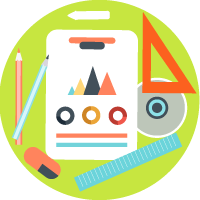illustrazione progettazione siti web digital banzai di forma rotonda strumenti di disegno, lavagna)