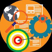 illustrazione SEO digital banzai di forma rotonda (lente ricerca, mappamondo, pagine web, ingranaggi, freccia al centro del mirino)