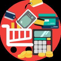 illustrazione ecommerce digital banzai di forma rotonda (carrello spesa e prodotti, monete, calcolatrice, carte)