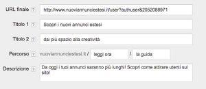 screenshot adwords in fase di inserimento di un annuncio di testo esteso