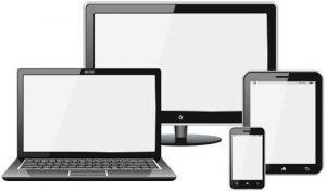 sagome di smartphone, tablet, laptop e pc monitor