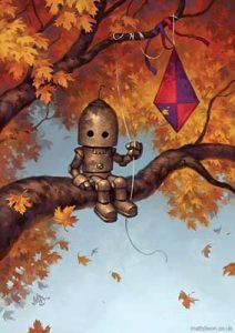 bambino robot sul ramo di un albero in autunno, con in mano un aquilone