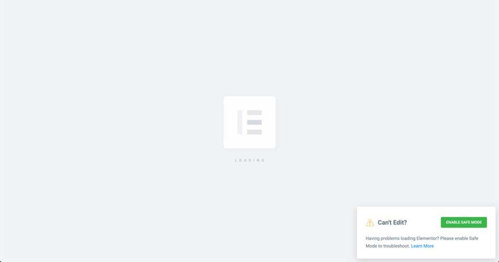 aspetto di una pagina web quando elementor non funziona in modalità editing